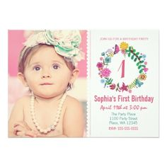 """First Birthday Party Invitation Girl Flowers Photo 5"""" X 7"""" Invitation Card Cartita design ©2014 All Rights ReservedFeel free to change or add text!You can follow my work at: facebook.com/Cartita.Design I Hope you enjoy my illustrations! Look also for matching party favors in my store! #cartita #design #birthday #party #invitation #photo #first #one #1st #flowers #kids #girl #floral #circle #flower #custom #age #specific #year #girls..."""