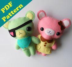 PDF PATTERN Bundle -  Girly & Eyepatch Bear Plush by Michelle Coffee (Digital Download)