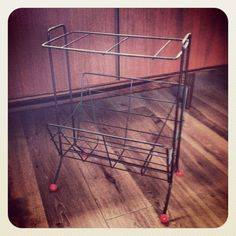 Mid century modern magazine rack - antiques centre find but not pricey :-)