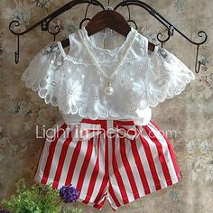 Humor Bear Kids Clothes Summer Girls Clothing Sets Bud Silk Lace Short Sleeves + Red Stripe Shorts Children'S Clothing Girls Summer Outfits, Toddler Girl Outfits, Baby Girl Dresses, Baby Outfits, Baby Dress, Summer Girls, Baby Girls, Toddler Girls, Baby Boy