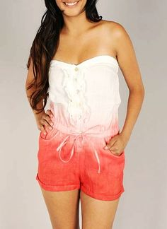 ombre-button-up-strapless-romper CORAL - GoJane.com on Wanelo