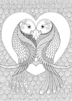 Lovebirds - Colour with Me HELLO ANGEL - coloring, design, detailed, meditation, coloring for grown ups, doodles, quote, uplifting