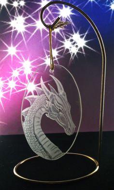 dragon suncatcher  hand engraved glass  by GlassGoddessNgraving, $20.00