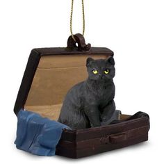 Shorthaired Black Cat Briefcase Ornament