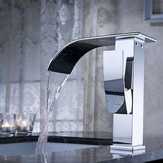 Contemporary Waterfall Bathroom Sink Faucet In Chrome 8081-Bingo E-commerce