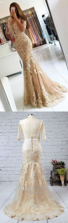 Long Prom Dresses with Sleeves,Champagne Prom Dresses Mermaid,Sexy Prom Dresses Lace,Tulle Prom Dresses with 1/2 Sleeve,Modest Prom Dresses Backless