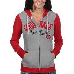 likey   St. Louis Cardinals Womens Nickel Coverage Full Zip Hoodie - Gray/Red