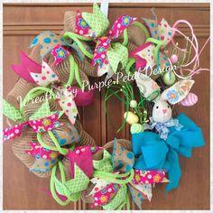 Easter Wreath, Burlap Easter Wreath, Spring Wreath, Summer Wreath, Spring Burlap Wreath, Easter Bunny Wreath, Grapevine Wreath, Easter by PurplePetalDesign on Etsy https://www.etsy.com/listing/220229835/easter-wreath-burlap-easter-wreath