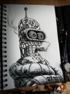 French graphic designer and illustrator PEZ has released part two of Distroy, an ongoing series of creepy graphite drawings portraying popular cartoon Cartoon Drawings, Sketches, Amazing Art, Pez Artwork, Graphite Drawings, Art, Really Cool Drawings, French Artists, Cool Drawings