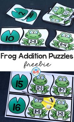 Addition Puzzles Your students will absolutely LOVE these Frog Addition Puzzles!Your students will absolutely LOVE these Frog Addition Puzzles! Math Stations, Math Centers, Kindergarten Activities, Teaching Math, Math Addition, Addition Games, Math Numbers, 1st Grade Math, Elementary Math