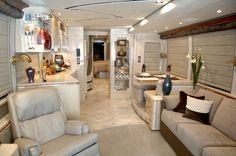 tour bus and rv interior images Luxury Rv Living, Tour Bus, Bus Remodel, Prevost Bus, Marathon Coach, Luxury Motorhomes, Rv Redo, School Bus Conversion, Van Interior