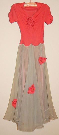 Vintage 40's PINK Grey Net Tulle Floral ROSES Corsages Garden Party Dress