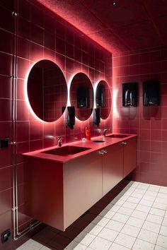 Boy Girl Bathrooms, Galaxy Theme, Retro Diner, Old Gas Stations, Public Bathrooms, Retro Futuristic, Black Doors, Coworking Space, Design Agency