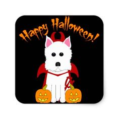 Happy Halloween Westie Devil Stickers - Halloween happyhalloween festival party holiday