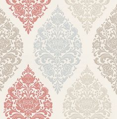 Loriana Vintage (1612/284) - Prestigious Wallpapers - A wallpaper design with an all over damask motif in various colours. Shown here in red, blue, taupe and cream. Other colourways are available. Please request a sample for a true colour match. Paste-the-wall product.