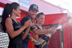 Vuelta a España 2014 - Stage 6: Benalmádena - Cumbres Verdes (La Zubia) 167.7km - Alejandro Valverde on the podium
