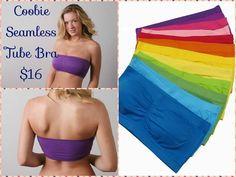 """Coobie Strapless Bandeau – no straps, no lace. Perfect for everyday, lots of fun colors. Removable single pad in matching colors. Back is smooth. This Bandeau blows the other """"tube"""" bra's out of the water! Nothing compares to this great strapless bra.  Don't be fooled by """"other"""" tubes that have no pad, no shelf, no support, no quality & no shape! Fits a 32A thru a 36D.   This is the strapless bra for you! Available in black, Mocha, and plum #bandeau #coobiebandeau"""