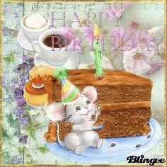 Happy Birthday, Geburtstag, Maus, Torte Anniversary Congratulations, Birthday Wishes Greetings, Holiday Gif, Happy Birthday, Celebrations, Birthdays, Bling, Holidays, Children