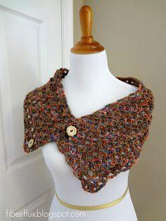 536fc0081cc Free Crochet Pattern  Flower Patch Button Wrap...looks like it works up