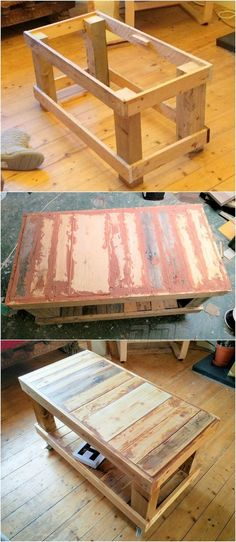 Pallets are able to serve you by every thing that you can design with them as this pallet coffee table idea is common because it is really easy to design. The pallet wood coffee table idea in the design idea is something classical and more adoptable. Wooden Pallet Projects, Diy Pallet Furniture, Wooden Pallets, Pallet Wood, Rustic Furniture, Pallet Diy Decor, Furniture Design, Lawn Furniture, Reclaimed Wood Furniture