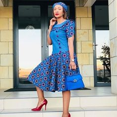 The Best woman Shweshwe Dresses 2020 African Wear Dresses, African Fashion Ankara, Latest African Fashion Dresses, African Print Fashion, African Attire, Xhosa Attire, Modest Dresses, Nice Dresses, South African Traditional Dresses