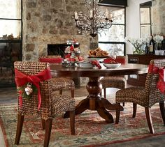 Sumner Extending Pedestal Table & Seagrass Chair Set | Pottery Barn This is the one. 2 extra chairs needed.