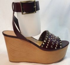 Enzo-Angiolini-Wedge-Sandals-6-Leather-Ankle-Buckle-Open-Toe-Rhinestones-Brown