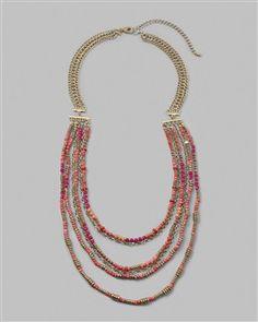 Pink, gold, orange multi strand necklace