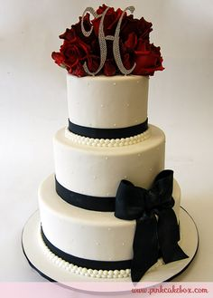 black white and red wedding cakes   Anne Heap Monogram Wedding Cakes All Wedding Cakes Baked in