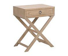 Mesita auxiliar de madera de roble macizo con cajón