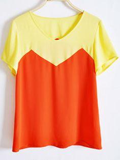 Yellow Orange Chiffon Short Sleeve Round Neck Blouse