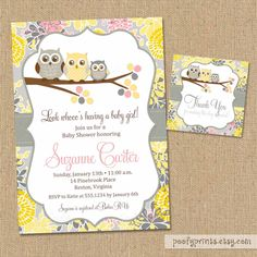 Owl Baby Shower Invitations - DIY Printable Baby Girl Shower Invitations - FREE Favor Tags Included. $24.00, via Etsy.