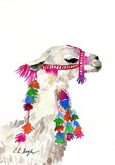 Llama Art, original watercolor painting, watercolor llama, llama gift, llama pai - New Sites Watercolor Walls, Watercolor Animals, Watercolor Paintings, Oil Paintings, Tulip Watercolor, Watercolor Artists, Indian Paintings, Abstract Paintings, Watercolors