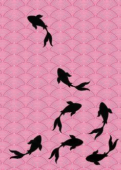 Asian style fabric design- Koi motif by Choomi Kim, via Behance Asian Style Bedrooms, Fabric Design, Pattern Design, Japanese Embroidery, Sashiko Embroidery, Cafe Logo, Fabric Animals, Origami, Japanese Art