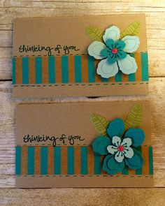 pair of greeting cards from Kards by Kadie ... kraft base with teal blue ... like this color combo ... flowers from Botanical Blossoms ... Stampin' Up!