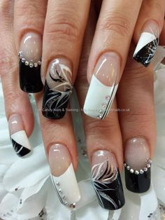 black and white flick nail art with swarovski crystals