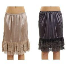 c9dbc1b2f713 Women's Double Layered Satin Skirt Extender / Half Slip Lingerie 2 Pieces  Combo Pack