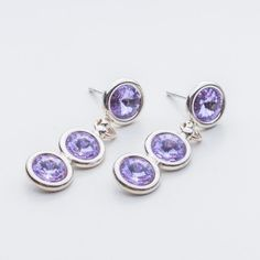 Swarovski Rivoli Earrings 6/6/6mm Violet  Dimensions: length: 3,2cm stone size: 6mm Weight ( silver) ~ 3,30g ( 1 pair ) Weight ( silver + stones) ~ 3,95g Metal : sterling silver ( AG-925) Stones: Swarovski Elements 1122 SS29 ( 6mm ) Colour: Violet 1 package = 1 pair  Price 9 EUR Sterling Silver Earrings Studs, Diamond Earrings, Silver Jewelry, Stud Earrings, Earrings Handmade, Handmade Jewelry, Yoga Bracelet, Gemstone Jewelry, Jewelry Gifts