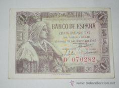 billete españa una peseta 1945 sin circulacion serie d