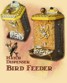 Upcycled, Recycled Vintage Match Dispenser Bird Feeder