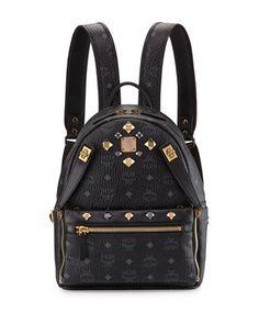 V2X77 MCM Dual Stark Small Visetos Backpack w/ Pouch, Black