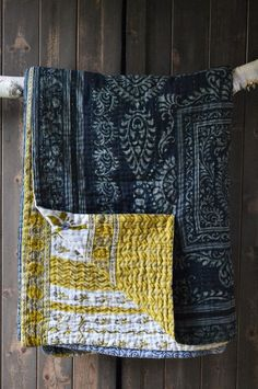 quilt - navy blue with yellow backing