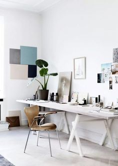 A modern workspace with color-blocking the filtered shades of the River Rock palette