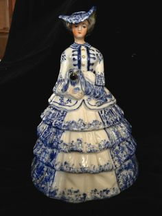Antique Ceramic Porcelain Victorian Woman Holding Dog - Powder Jar Victorian