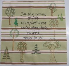 hand embroidered TREE saying quote with fanciful by paintallday, $75.00