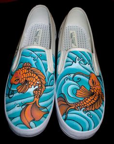 Hand Painted Vans  Koi by TKDealShoes on Etsy, $145.00