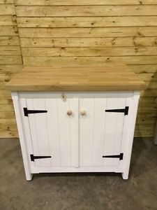 Details About Solid Pine Freestanding Kitchen Handmade Cupboard Oak Top  Rustic Shabby Chic