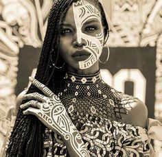 Fashion editorial female face portrait photography, beautiful African black woman with tribe pattern paint, African inspired fashion inspiration ideas, black female portrait Black Women Art, Black Girls, Black Art, African Beauty, African Fashion, African Makeup, African Girl, African Inspired Fashion, African Women