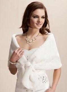 Faux Fur Wedding Wrap (013002337) - JJsHouse