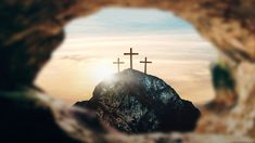 Crucifixion of Jesus Christ, three crosses on hill, rendering - Buy this stock illustration and explore similar illustrations at Adobe Stock Worship Backgrounds, Church Backgrounds, Jesus Is Risen, God Jesus, Jesus Etc, Empty Tomb, Cross Pictures, Christian Warrior, Crucifixion Of Jesus